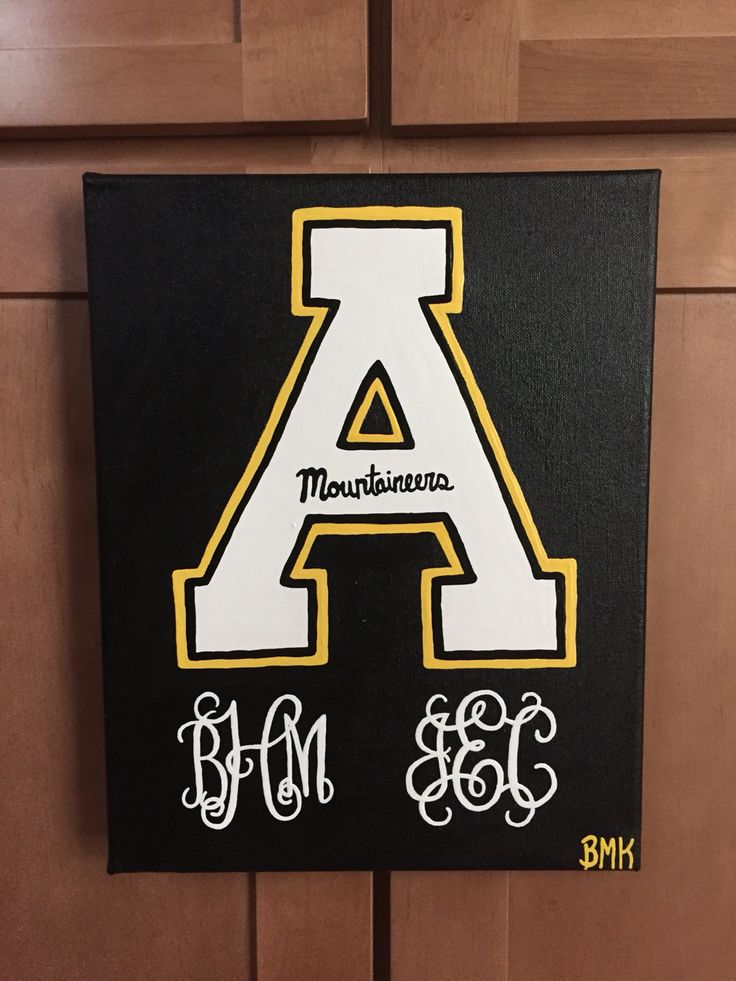 Appalachian State University logo with Monogram || dorm room canvas ~ Mountaineers  Canvses for Christ BMK  {ordered by Julia Ehlen}