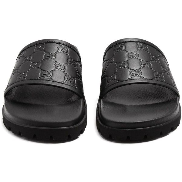 Gucci GG embossed leather pool slides ($370) ❤ liked on Polyvore featuring men's fashion, men's shoes, men's sandals, mens wide width shoes, mens wide shoes, mens black shoes, gucci mens shoes and mens leather shoes