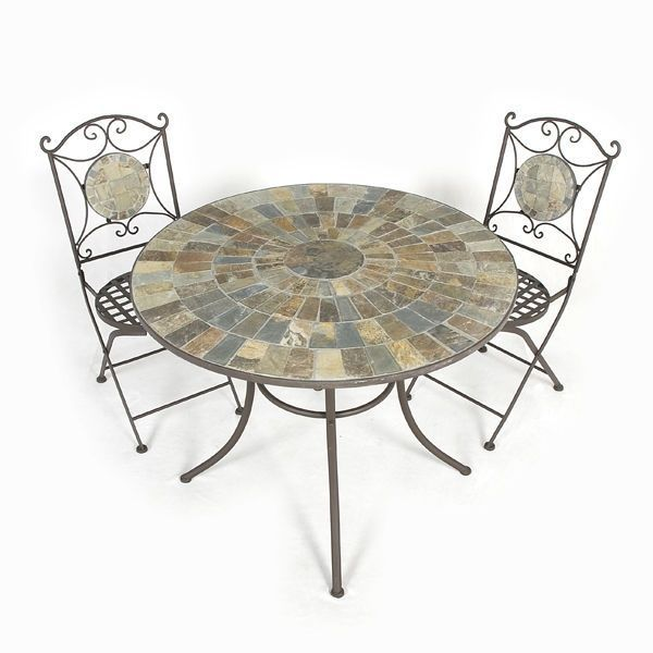 Large Garden Bistro Set 2 Folding Chairs 31' Round Table Dining Tiles Iron  http