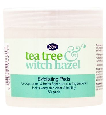 #Boots Tea Tree and Witch Hazel Boots Tea Tree  Witch Hazel Exfoliating Pads #16 Advantage card points. Easy to use Exfoliating Pads are formulated with antibacterial Tea Tree Oil and skin calming Witch Hazel to keep your skin clear and healthy. FREE Delivery on orders over 45 GBP. (Barcode EAN=5045091066813)