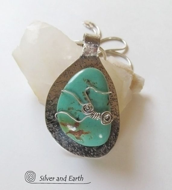 Arizona Turquoise Pendant, One of a Kind Silver & Turquoise Jewelry, Artisan Handcrafted Southwestern Jewelry, Chunky Turquoise Necklace