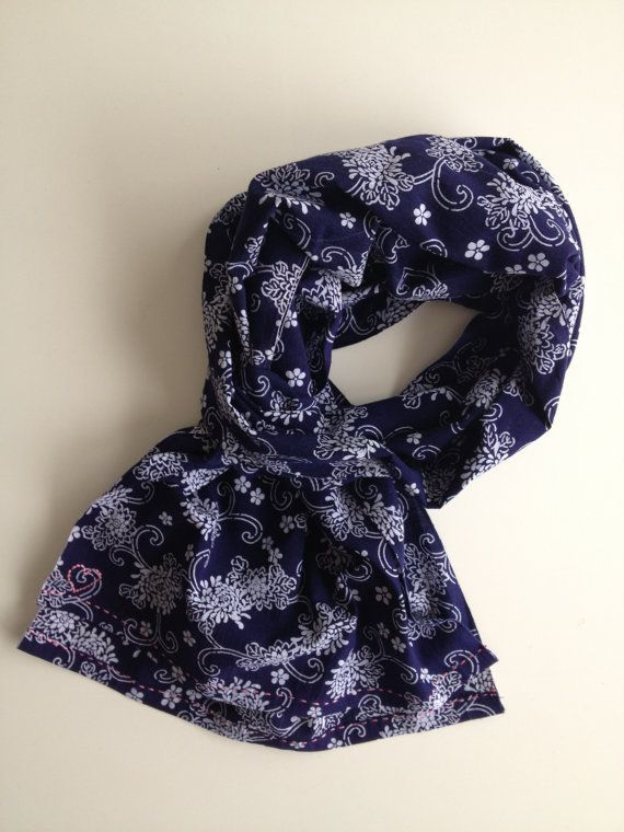 Indigo blue japanese selvedge floral scarf by stockholmhearttokyo, $55.00
