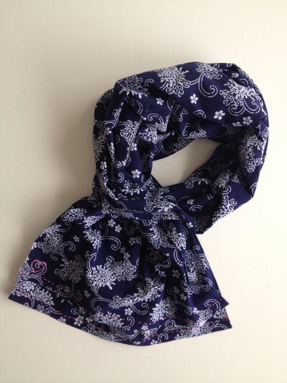 Indigo blue japanese selvedge floral scarf by stockholmhearttokyo, $55.00