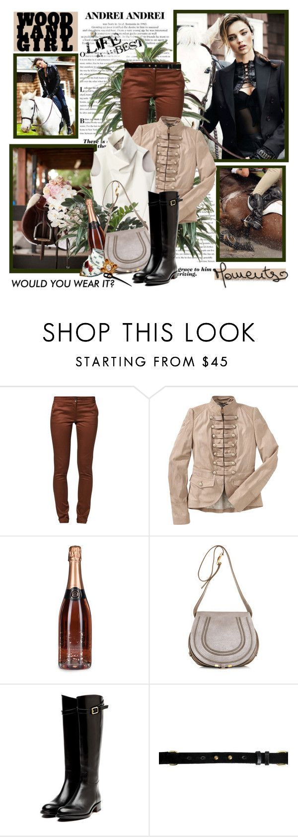 """Woodland girl"" by helleka ❤ liked on Polyvore featuring Kerr®, Kookaï, BOSS Orange, CÉLINE, Chloé, Rupert Sanderson, rag & bone, Hermès, riding boots and equestrian"