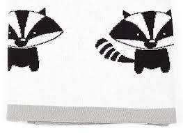Baby blanket Raccoon Ivory & Ebony 100% Cotton - Ivaleegifts