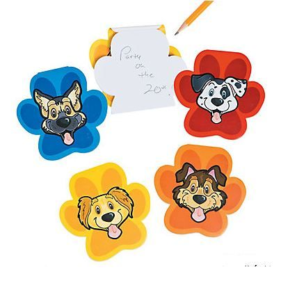 Puppy Party Notepads (12).  Notate all your great ideas during your puppy themed event with these cute Puppy Party Notepads. These brightly coloured note pads feature different puppies on the covers!  Use them as giveaways and party favors at your puppy dog themed party.  set of 12 notepads; assort colours; 10.02 cm 30 blank pgs