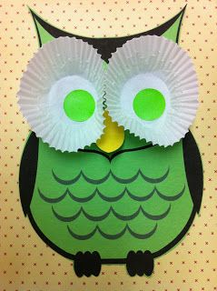 Owl eyes = cupcake liners & colorful circle stickers