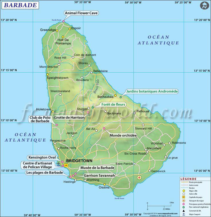 Carte de la Barbade.   #Map of #Barbados