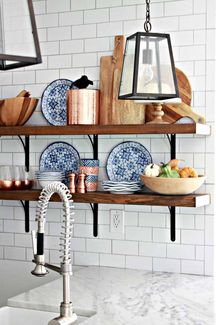 Open shelving in white kitchen kitchen pinterest for Off the shelf kitchen units