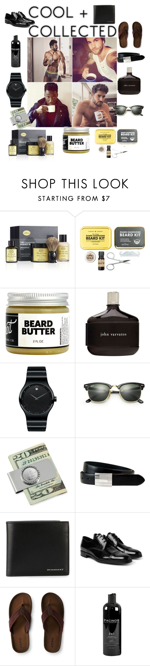 """""""Cool & Colllected"""" by aasisterstouch ❤ liked on Polyvore featuring The Art of Shaving, Men's Society, Detroit Grooming Co., John Varvatos, Movado, Ray-Ban, American Coin Treasures, The British Belt Company, Burberry and Prada"""