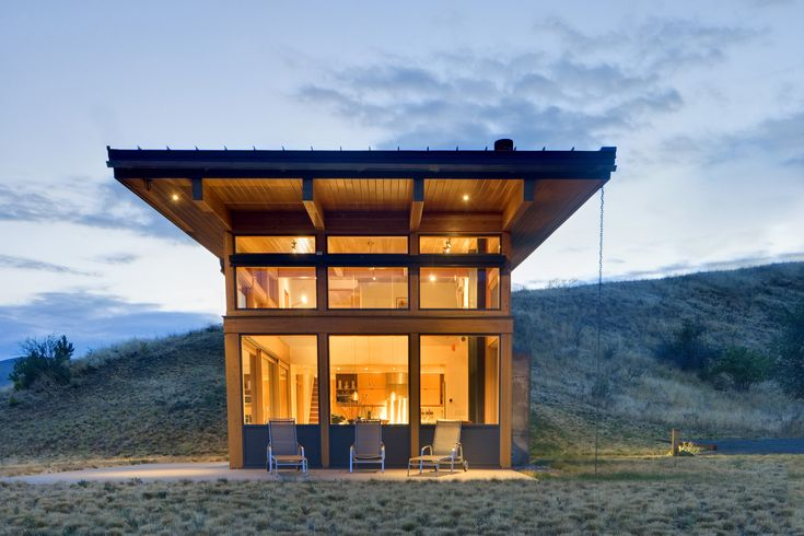 Built by Balance Associates in Cashmere, United States with date 2009. Images by Steve Keating Photography. Located north of Cashmere, Washington, in the Nahahum Canyon, this 1650 square foot two story dwelling is set into th...