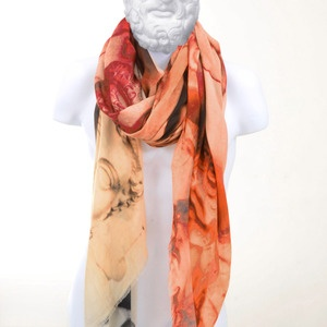 LOUP NOIR   HEADS red/orange 140x200cm   MADE IN ITALY   INSPIRED BY HISTORY