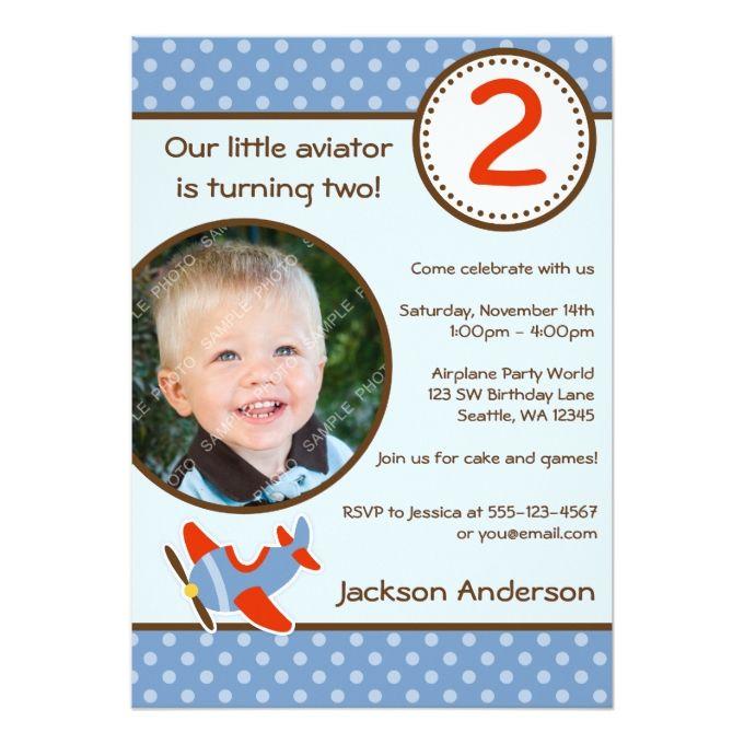 1253 best boy birthday invitations images on pinterest boy airplane polka dot blue red photo boy birthday 5x7 paper invitation card filmwisefo