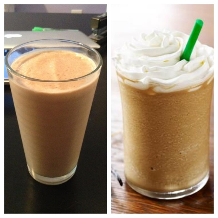 """LEFT - Arbonne Vanilla Coffee """"Frap"""" is 165 calories, 3g of fat, 9g of sugar, 20g of protein for about $1.50 {or} RIGHT - Starbux Vanilla Frap is 310 calories, 3g of fat, 67g of SUGAR, 3g of protein for about $4.00 To make use unsweetened almond milk, 2 scoops of Arbonne Vanilla protein, cold coffee, ice ... blend :)"""