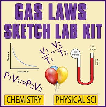 "The activity is a great review that requires application of Boyle's and Charles' Laws, pressure unit conversions, basic gas law calculations, and manometer calculations. Gas Law Sketch Lab Kit Includes: (1) 6 situation cards that require solving a problem then ""sketching the answer."" (2)"