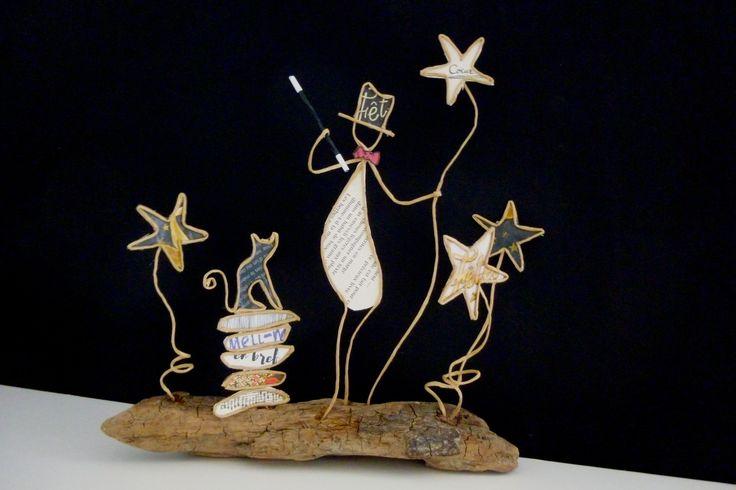 Le magicien au chat - figurines en ficelle et papier : Accessoires de maison par ficelleetpapier