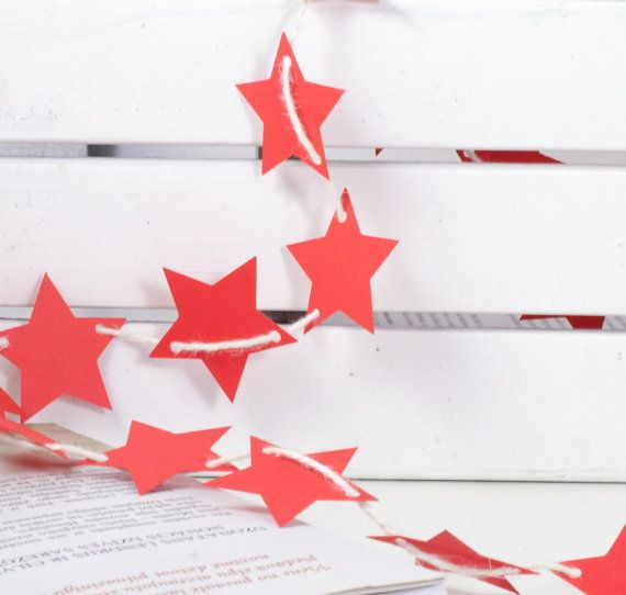 Red Stars Bunting Garland Banner for home, room, office, party, circus, birthday, christmas, wedding, holidays.. by 21january on Etsy