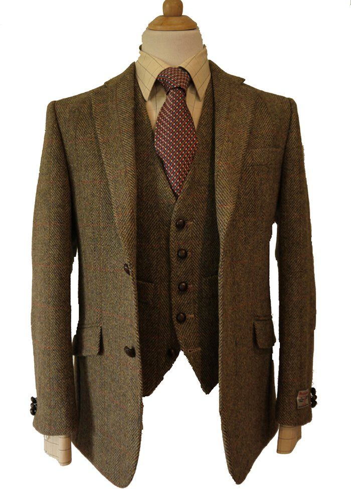 Iain Harris Tweed Jacket & Waistcoat    This tailored Harris Tweed Iain Jacket has a exclusive luxury Harris tweed Orb design lining that compliments the pattern  of the Harris Tweed, with slanted hip pockets, ticket pocket, elbow patches and genuine leather buttons, with a matching waistcoat. Or add a pair of matching Trousers to make an impressive 3 piece suit, trousers have 2 side pockets, one back pocket, zip fly and are lined to the knee, with belt loops, each item comes with the…