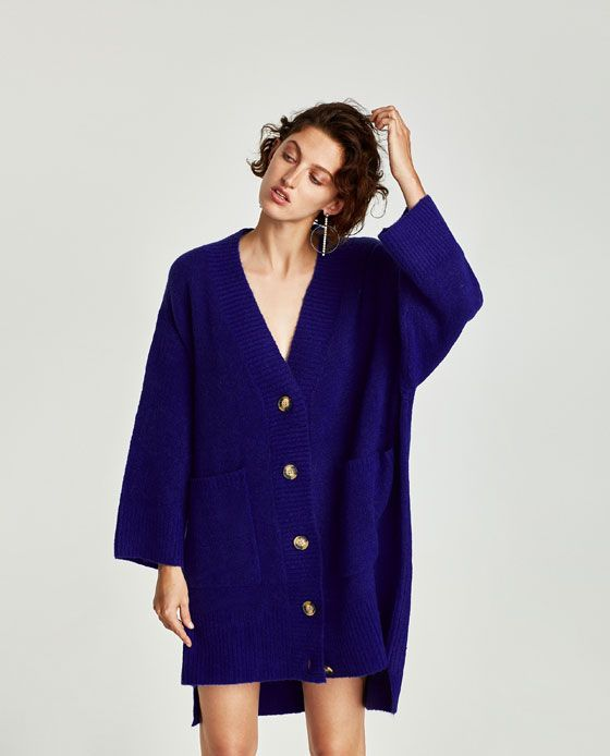 Image 3 of OVERSIZED CARDIGAN WITH UNEVEN HEM from Zara