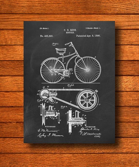 "Retro 1890 ""Bicycle"" Vintage Patent Illustration, Art Print Poster, Wall Art, Home Decor, Old Fashion Bike, Cycling, Biking, Gift Idea"