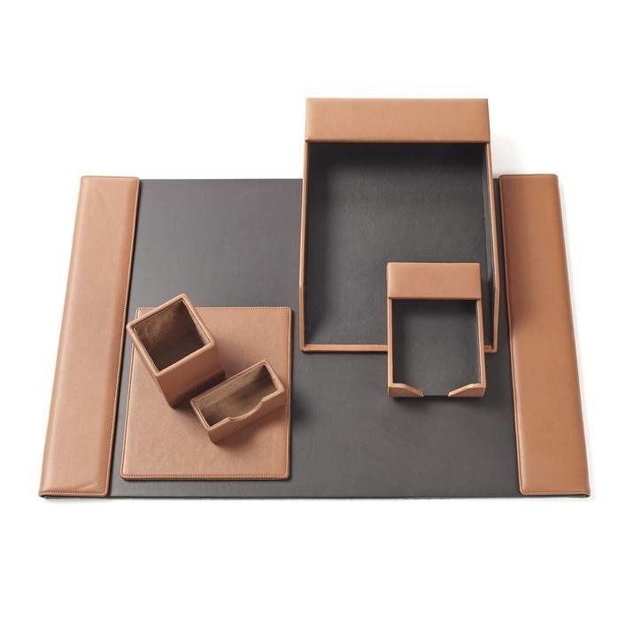 Deluxe Desk Accessories Set Full Grain Leather Cognac