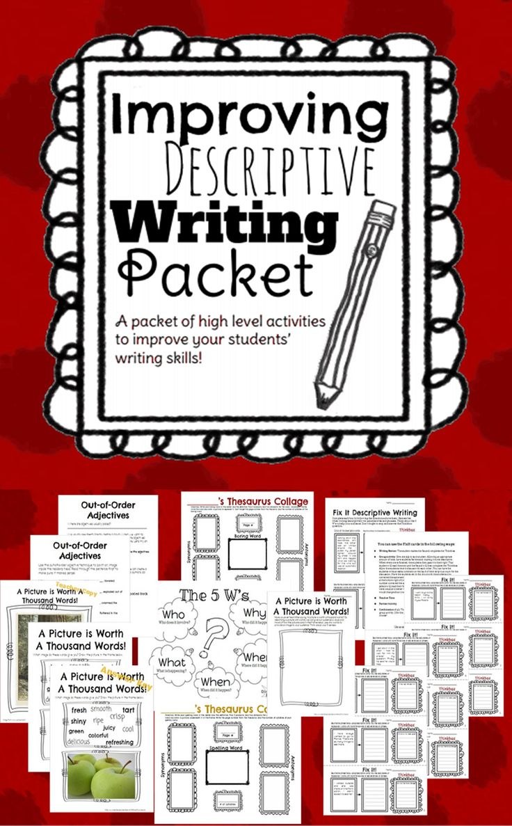 A package of excellent descriptive and imagery writing activities that will improve your students writing! Sharpen your kids thesaurus skills with word collages and fix-it activities. Enjoy an activity involving the Out-of-Order Adjectives technique that will help your students achieve professional style writing! This package includes: