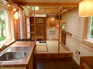 Houzz Tour: Teatime for a Tiny Portable Home in Oregon. Japanese style tiny home, with open look and feel, plenty of wood.