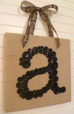 "Personalized Burlap-Wrapped Canvas With Vintage Black Button Monogram — 10""x10"""