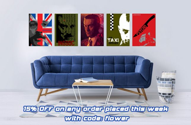 15% OFF on any order placed this week with code: flower.  Movie Posters by Scar Design #buyposters #poster #displate #scardesign #movieposter #homedecor #giftsforhim #giftsforher #wallart #discount #save #sales  #homegifts #movieposters #cinemaposters #cinephile #alternativemovieposters #minimalmovieposters #buymovieposters #bestmovies #1984poster #casinomovieposter #psychomovieposter #bronsonmovieposter #taxidrivermovieposter
