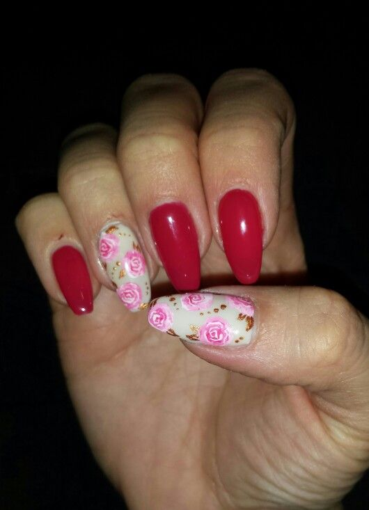 #romantic#nail#Ivory#raspberryred#roses