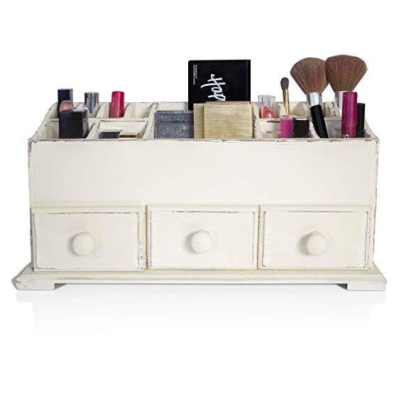 Amazon Com Vanity Drawer Beauty Organizer 3 Drawers Wooden