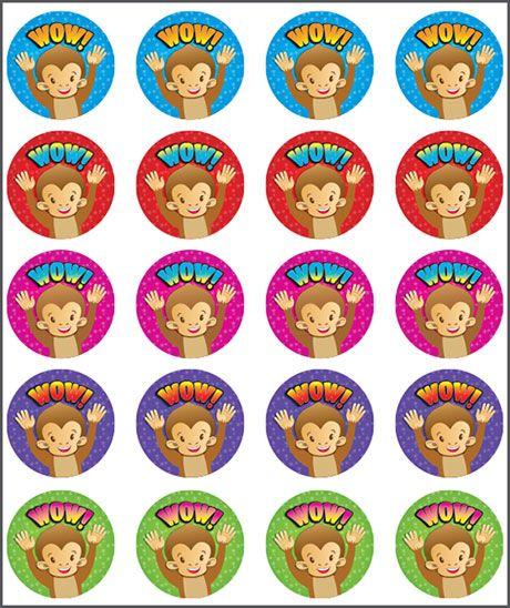 Sticker Monkey Wow. Teacher sticker pack. Contains 100 sticker. Merit award.