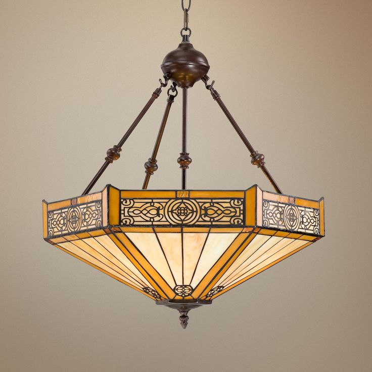 "Stratford 20 3/4"" Wide 3-Light Mission Tiffany Pendant"