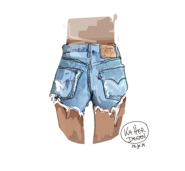 how to draw jean shorts