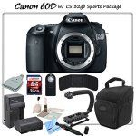 Canon EOS 60D Digital SLR Camera Body with CS Sports Package: Includes High Speed 32GB SDHC Memory Card, SD Card Reader, Memory Card Wallet, Holster Case, Canon LPE6 Replacement Battery, Rapid Travel Charger, Stabilizing Handle/Grip Kit, Remote Shutter Release, Brush Blower, Cleaning Kit, Lens Pen & CS Microfiber Cleaning Cloth