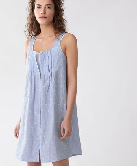 Pin tuck nightdress - New In Spring Summer 2017 trends in women fashion at Oysho online. Find lingerie, pyjamas, slippers, nighties, gowns, fluffy, maternity, sportswear, shoes, accessories, body shapers, beachwear and swimsuits & bikinis.