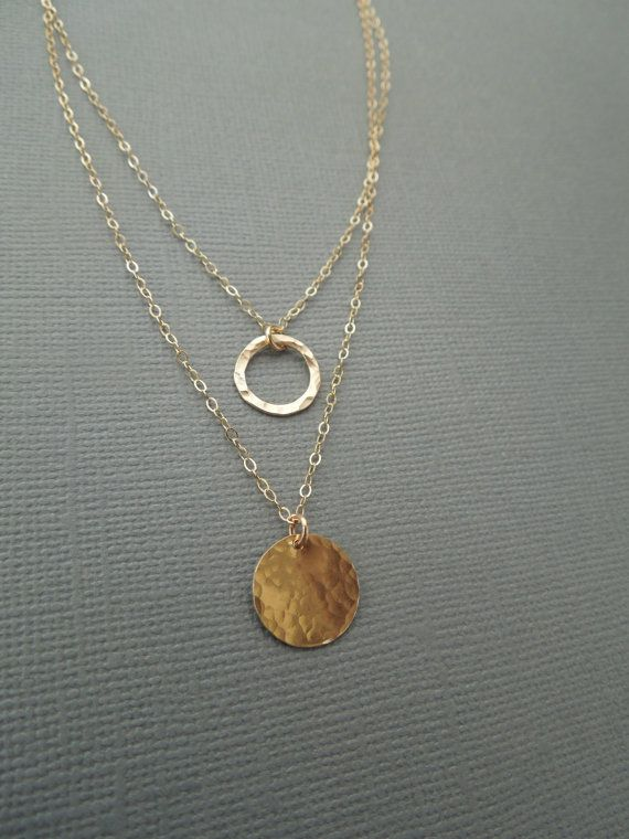 two layer necklace gold disc gold circle by greygoosegifts on Etsy, $45.00
