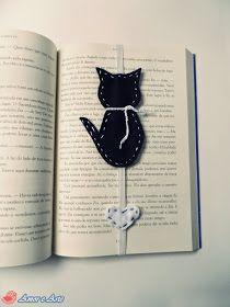 Marcador de Página, Gatinho e Coração - em feltro preto e branco