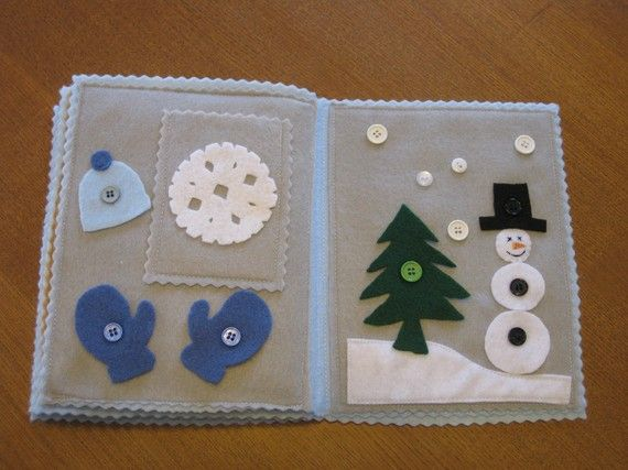 Winter; build a snowman and button hat, gloves and tree