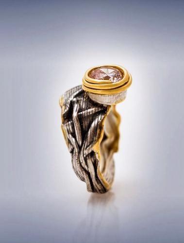 DAVID CHKHEIDZE RING 4 gold-plated silver, zirconium