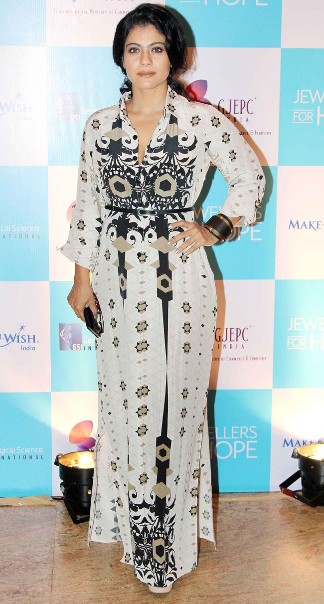 Kajol at an event wearing her hair back in a Payal Singhal printed number. #Style #Bollywood #Fashion #Beauty