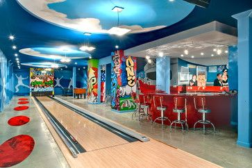 Really Cool Basement Interior Design Photos - Basement Bowling Alley| Live Love in the Home