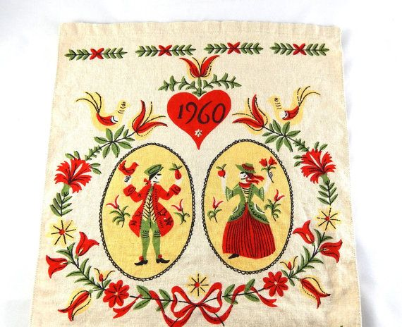 Vintage Calendar Tea Towel, 1960, Scandinavian Folk Design Tea Towel, Dish Towel, Vintage Linen Towel, Red, Yellow, Green, Black