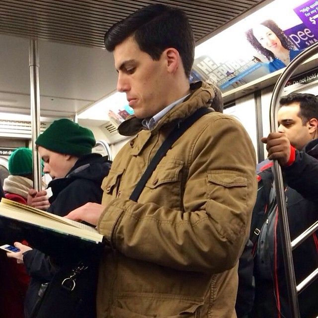 Sigh. This Clark Kent look-alike seems to have just flown in from Krypton to spend some QT on the F Train with us mere mortals. I may have to pretend to faint so he'll catch me but I'm going to let him finish the last few pages of 100 Years of Solitude first. #superman #hotdudesreading