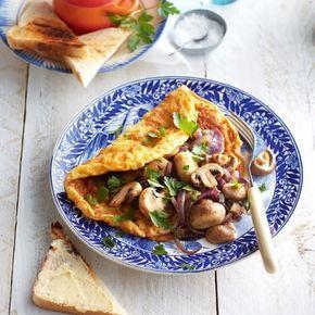 Gevulde omelet met knoflookchampignons
