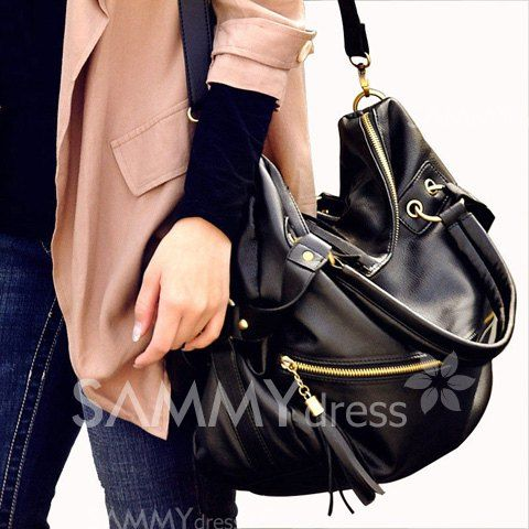 $14.15 Fashion Women's Tote Bag With Tassels and Rivets Design