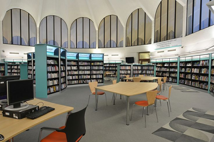 Library interior created by Opening the Book at Fullwell Cross, an amazing 1960s building in London Borough of Redbridge