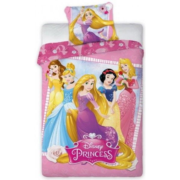 Disney prinsesse sengetøj i 100% bomuld med Belle, Askepot, Rapunzel, Snehvide og Tornerose som flot motiv