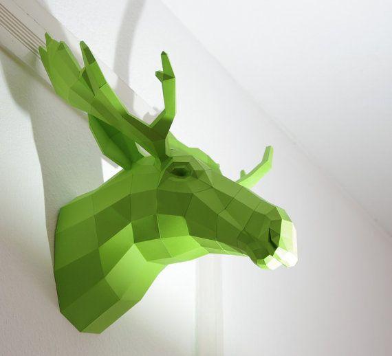 Fake Trophy Moose / Elk Wall trophy Moose Sweden by PaperwolfsShop