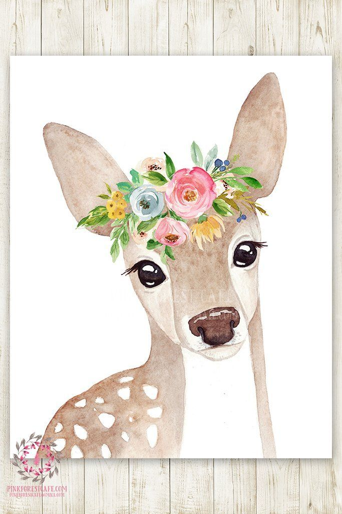 Boho Watercolor Deer Woodland Wall Art Print Nursery Garden Floral Baby Girl Printable Room Decor